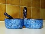 Duo galuchat bleu et lustre avec petite cuillère