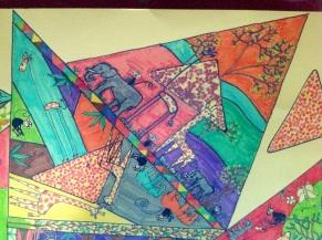 Tinga Dessin papier mis en couleur aux feutres