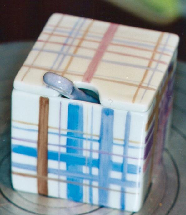 Pot cubique rayé avec couvercle et cuillère